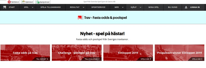 Svenska spel travodds på Svenskt trav
